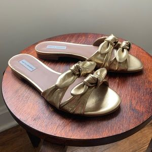 Tabitha Simmons Cleo Gold Leather Bow Sandals